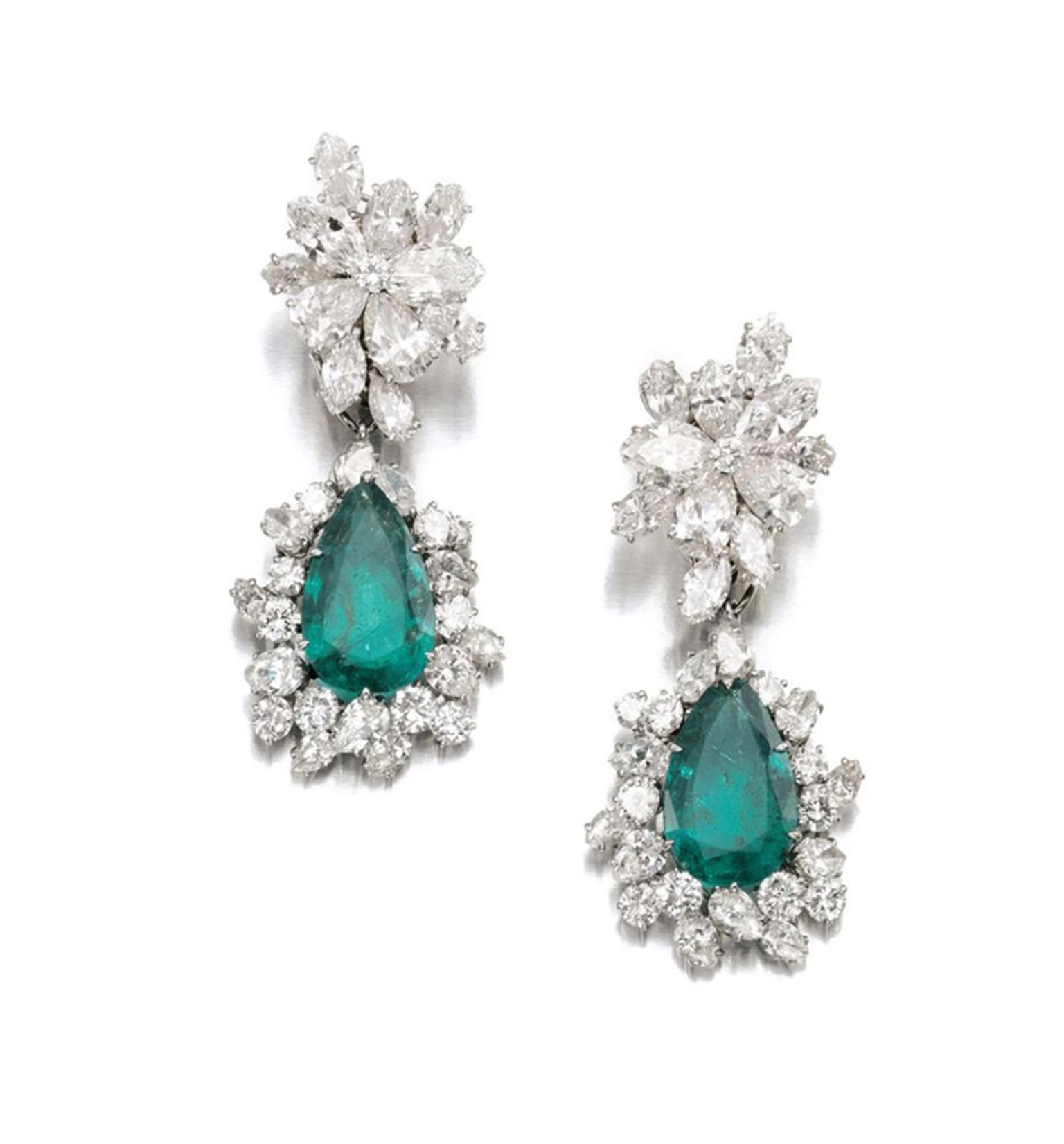 Gina Lollobrigida's emerald and diamond earclips, by Bulgari circa 1964, sold for CHF 293,000 at Sotheby's Geneva in May 2013.
