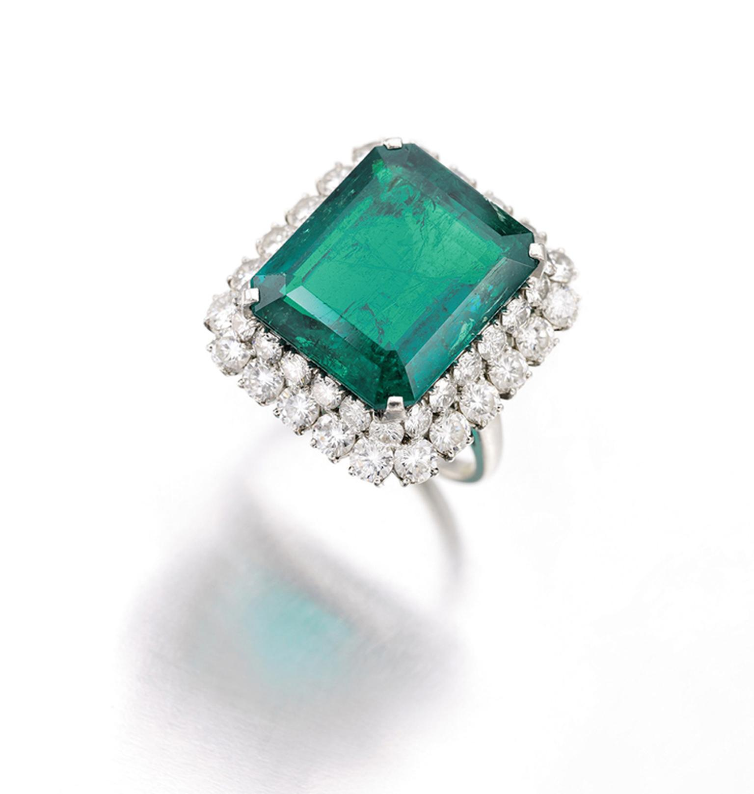 An emerald and diamond ring by Bulgari, circa 1964, set with a 16.62ct step-cut emerald, that belonged to Gina Lollobrigida. It sold for CHF 173,000 at Sotheby's Geneva in May 2013.