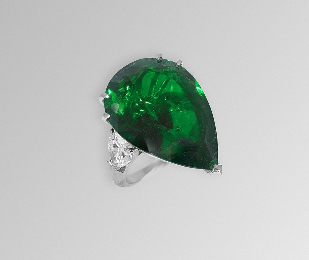 One-of-a-kind David Morris emerald ring.