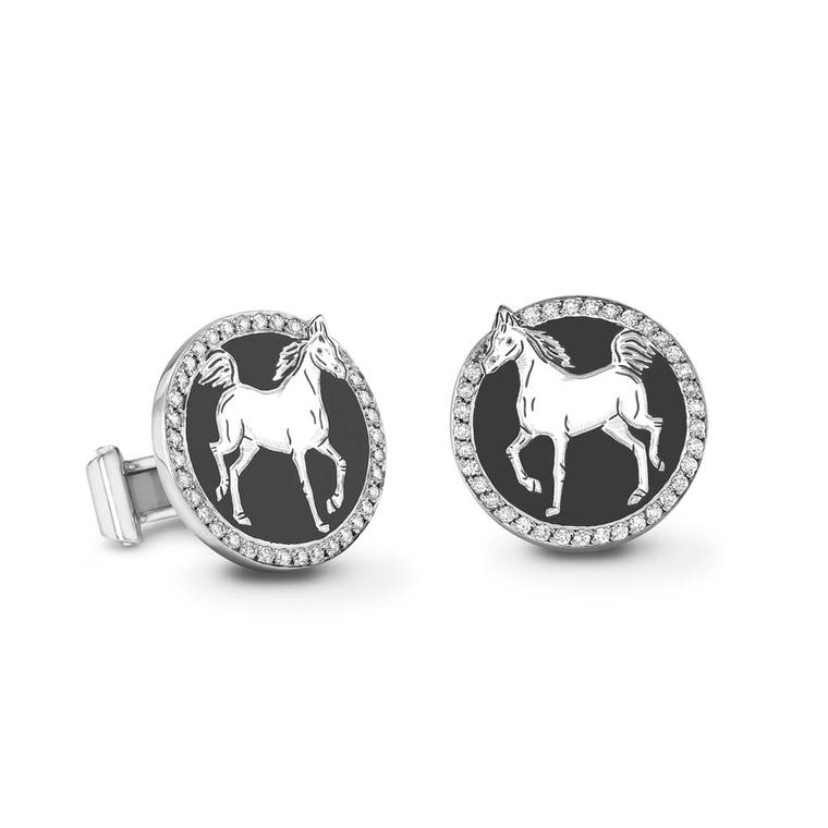 Theo Fennell pays homage to the Year of the Horse with hand-painted enamel cufflinks set with a circle of diamonds (£4,250).