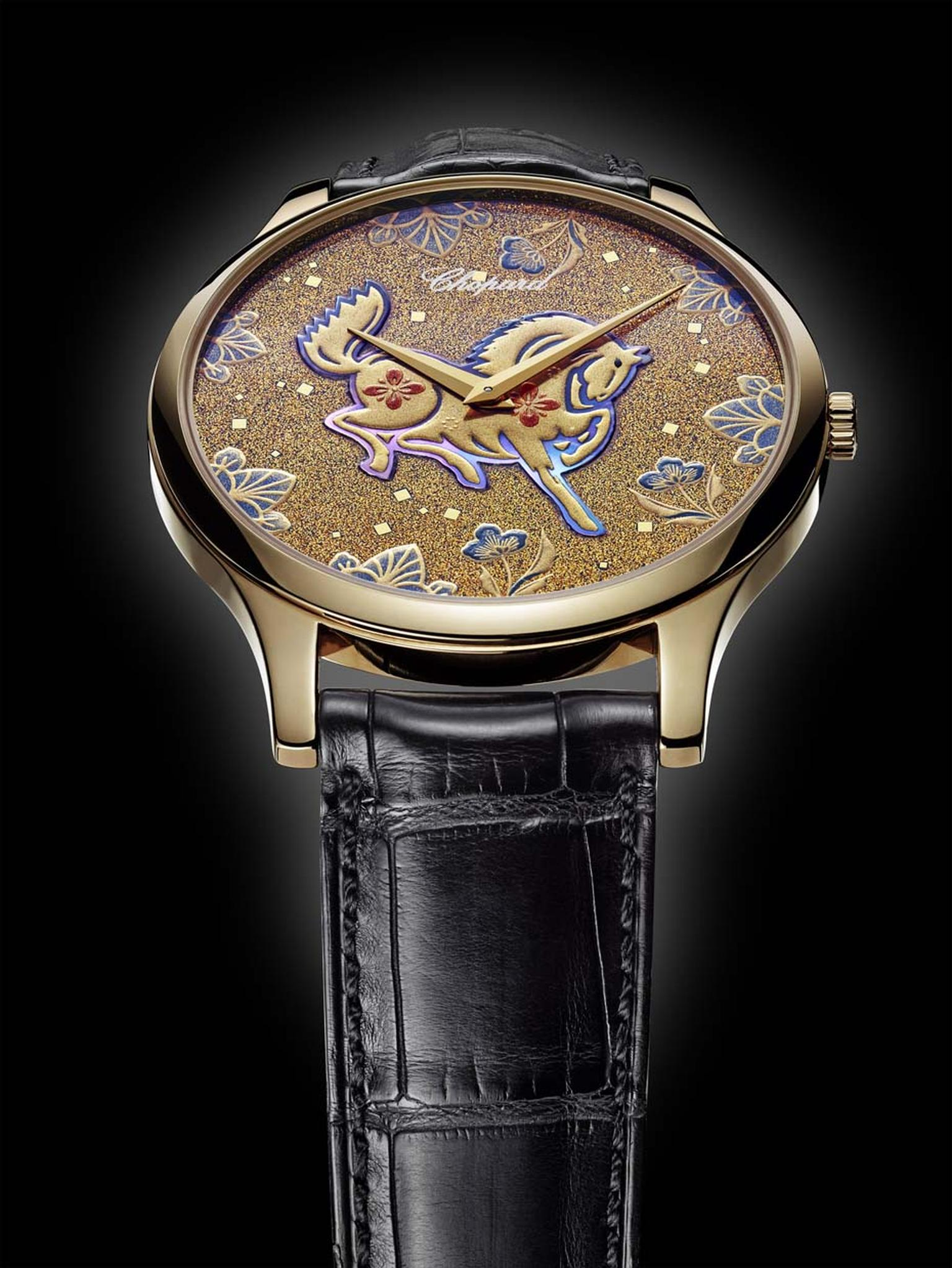 The dial of Chopard's L.U.X XP Urushi Year of the Horse timepiece was handcrafted using a technique called Make-e, which derives from the art of ancient Japanese lacquering called Urushi