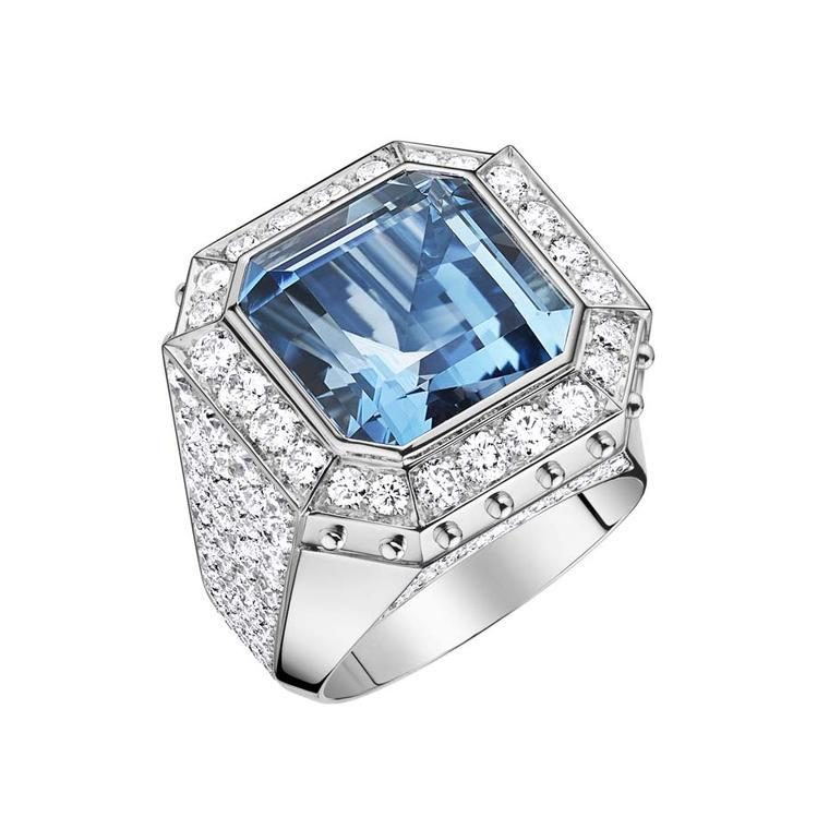 A one-of-a-kind Louis Vuitton Emprise high jewellery ring in white gold, set with an aquamarine surrounded by diamonds.