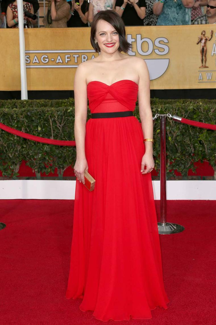 Elisabeth Moss stood out in Neil Lane jewels on the SAGs 2014 red carpet