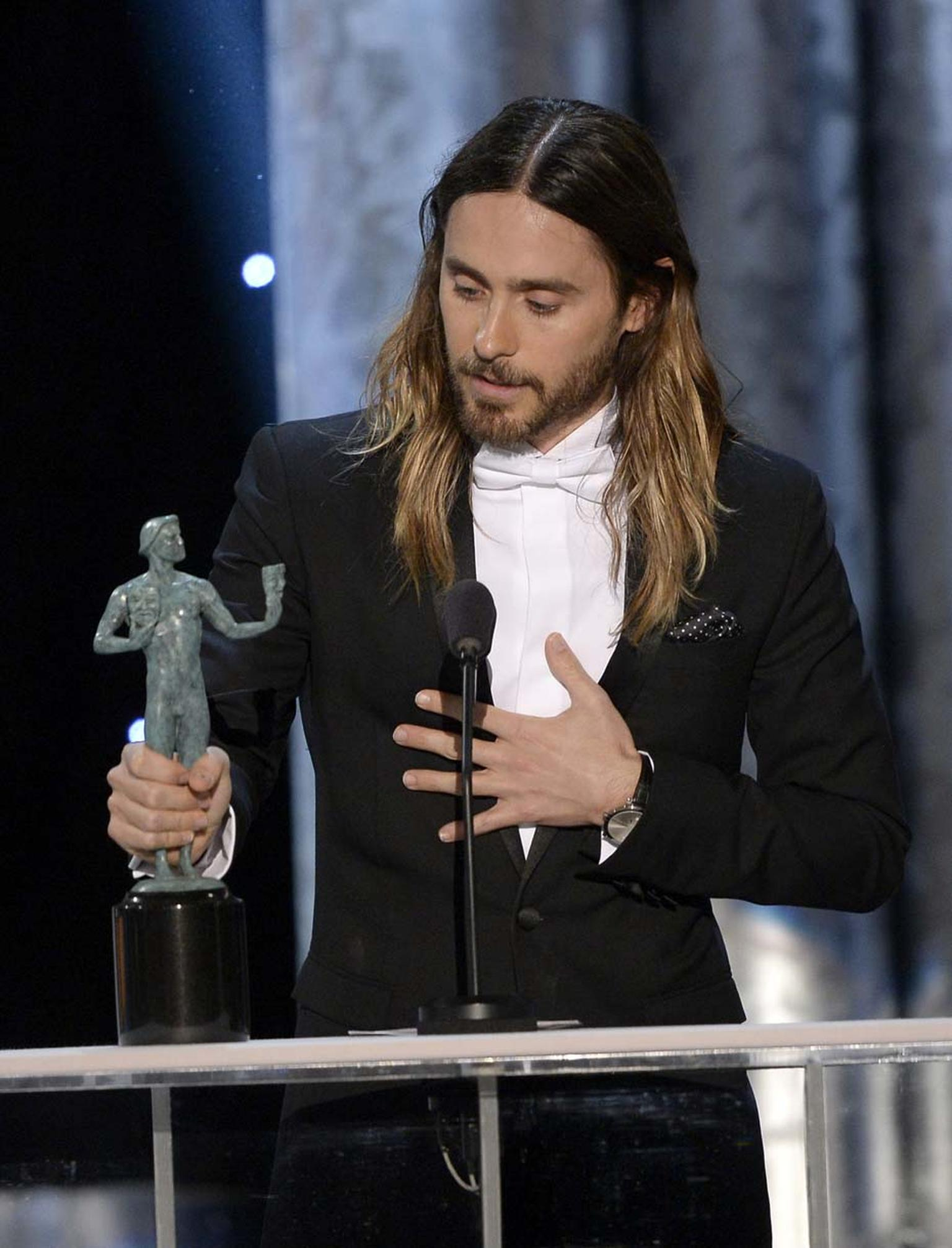 Jared Leto, winner of an award for Outstanding Performance by a Male Actor in a Supporting Role at the SAG Awards 2014, was spotted wearing a Harry Winston Midnight timepiece