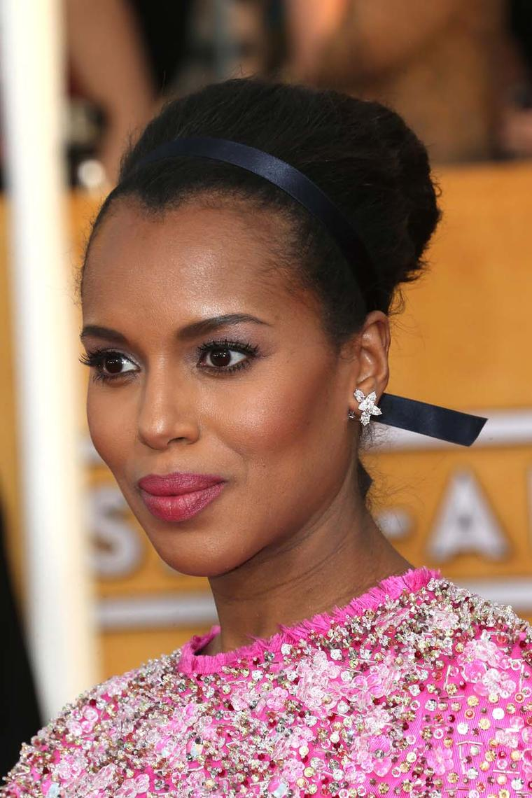 Kerry Washington opted for a fuchsia dress and Harry Winston 'Cluster' diamond earrings at the Screen Actors Guild Awards in January