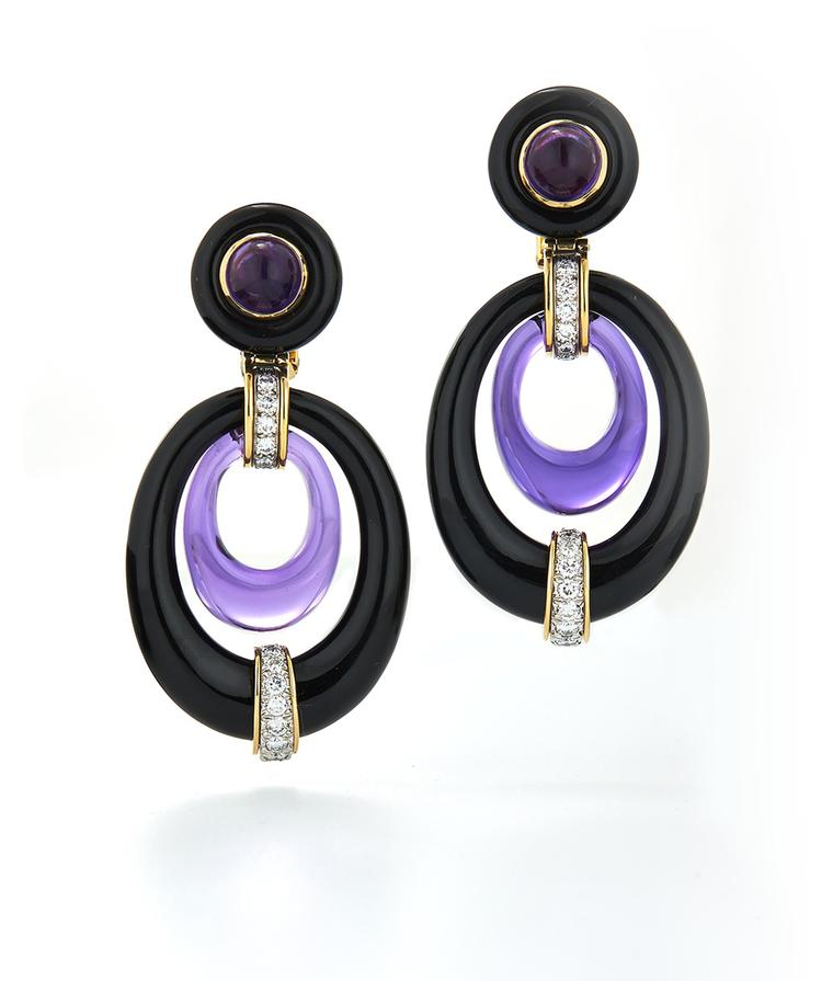 The colourful David Webb earrings worn by Jennifer Garner at the Screen Actors Guild Awards 2014, with onyx, amethyst and diamonds