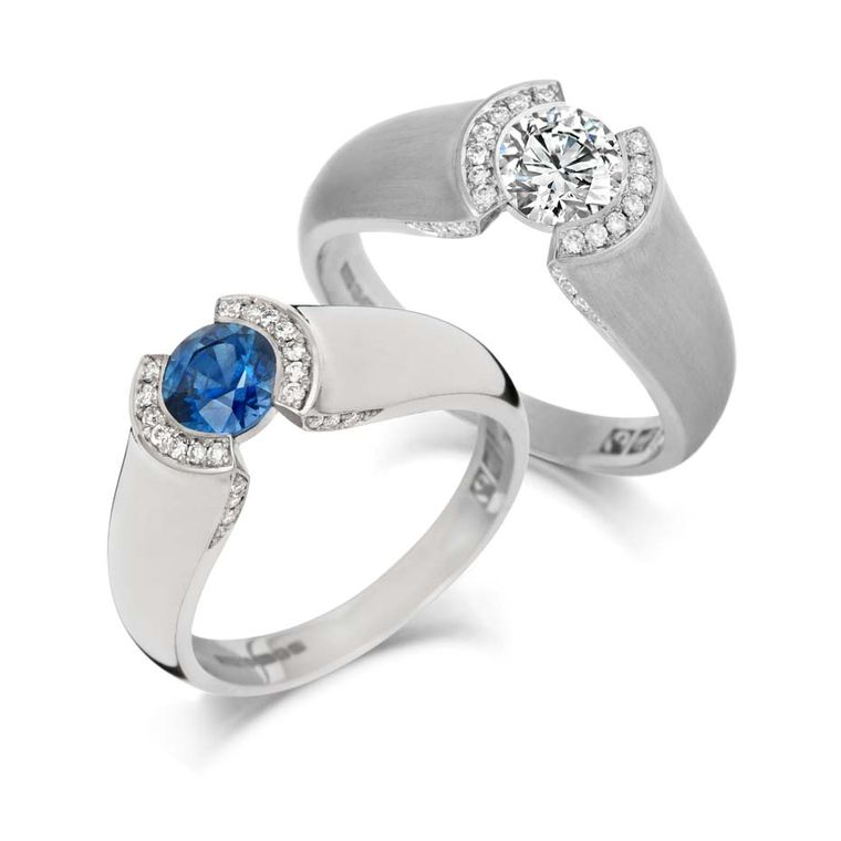 Jessica Poole diamond and sapphire engagement rings in Fairtrade gold, available exclusively at Olive & Reg.