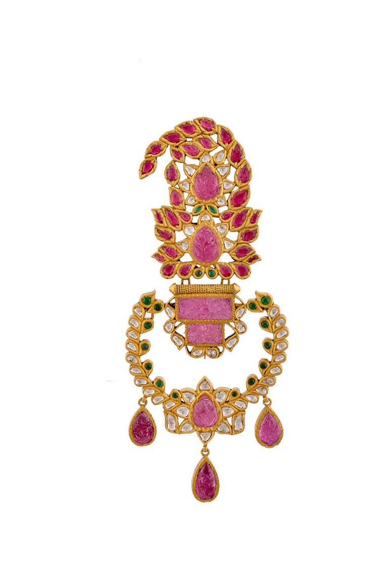 Amrapali's diamond and ruby elephant-inspired kalgi.