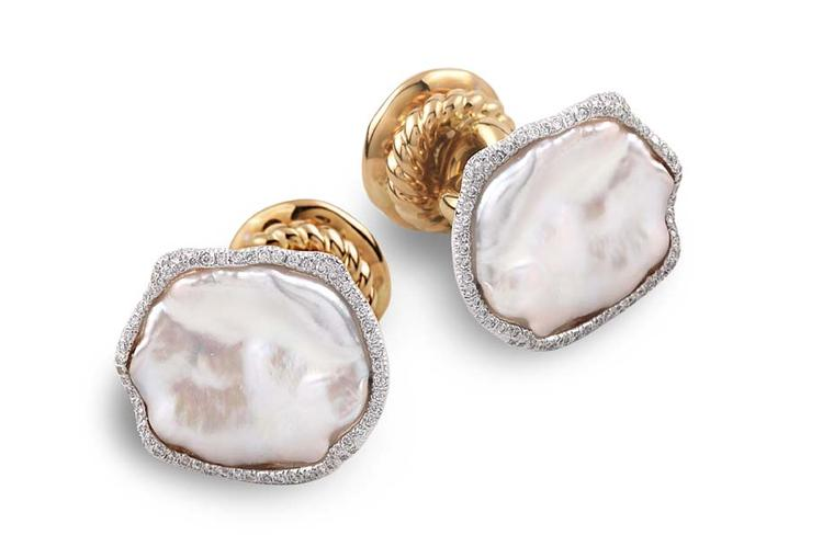 Bina Goenka's pearl and diamond cufflinks.