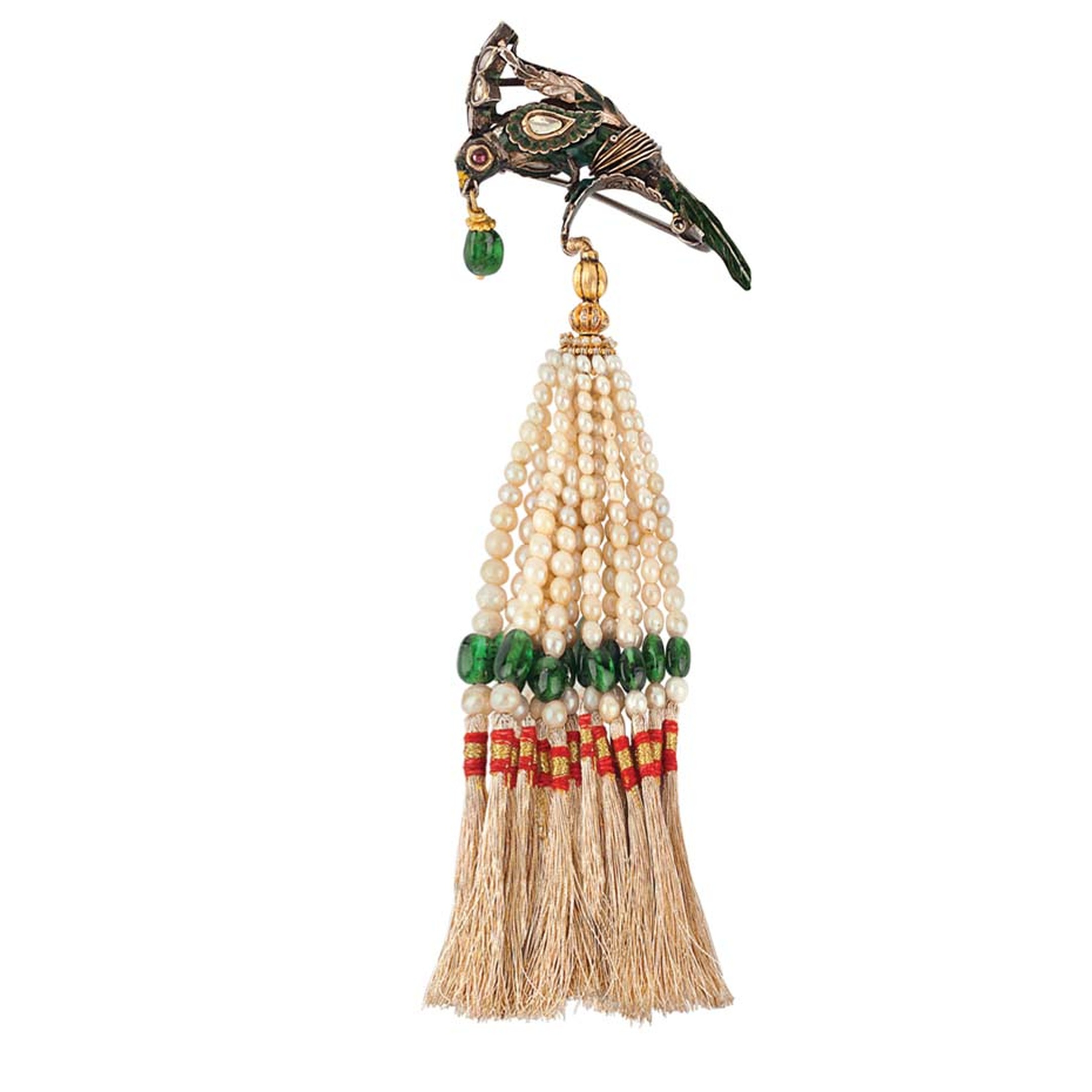 Golecha's Parrot brooch with pearl and emerald tassels.