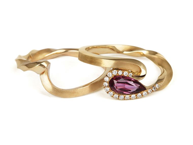 Jessica Poole Sapphire Twist Ring in Fairtrade yellow gold