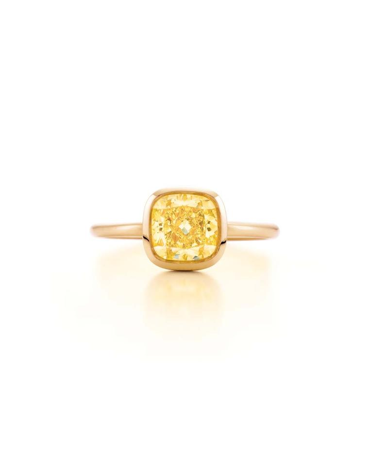 Tiffany cushion-cut yellow diamond engagement ring in pink gold (£POA)