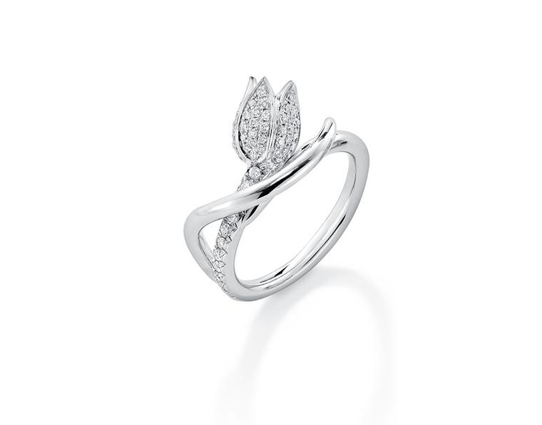 Boodles Maymay tulip diamond ring in platinum (£2,800).