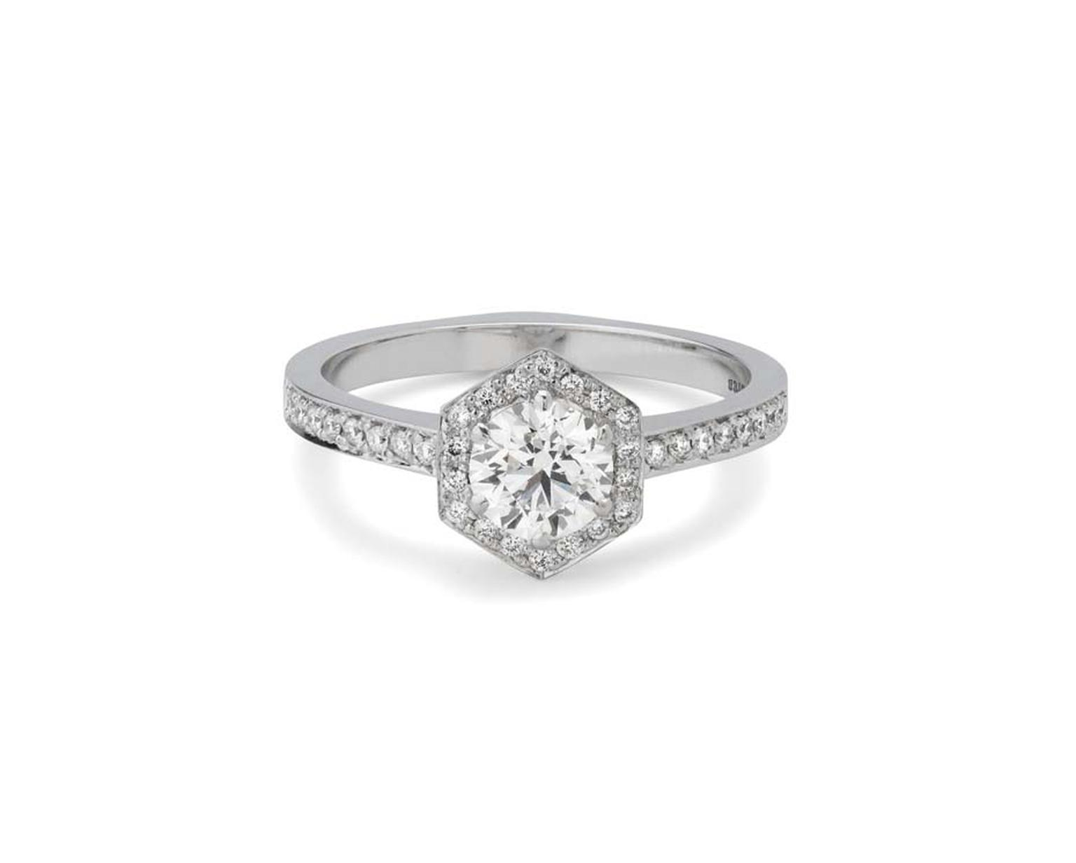 Stephen Webster's Bridal Collection 'Deco' Hexagonal engagement ring with Forevermark diamonds.