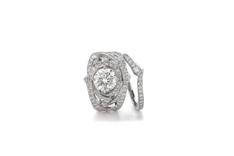Stephen Webster's Bridal Collection 'Thorn' engagement ring and pavé diamond band with Forevermark diamonds.