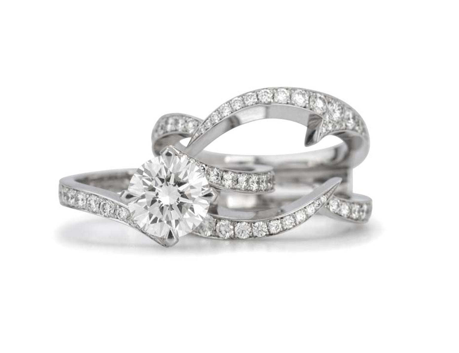 Stephen Webster's Bridal Collection 'Thorn' interlocking engagement ring and wedding diamond band with Forevermark diamonds.