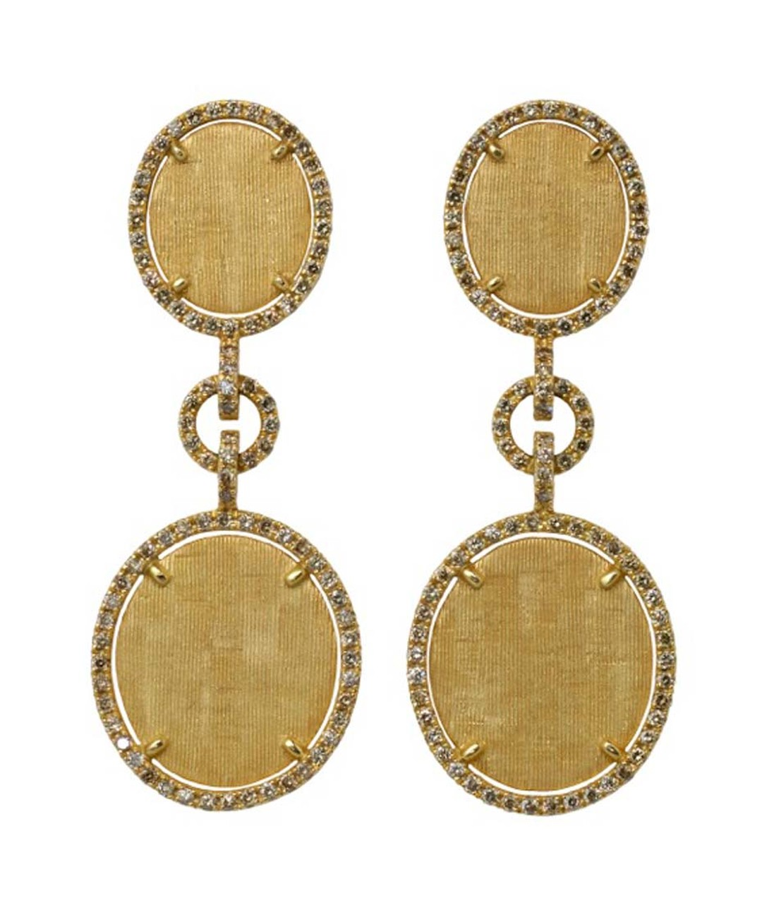 Eternamé Lunaria double earrings in yellow gold, set with brown diamonds.