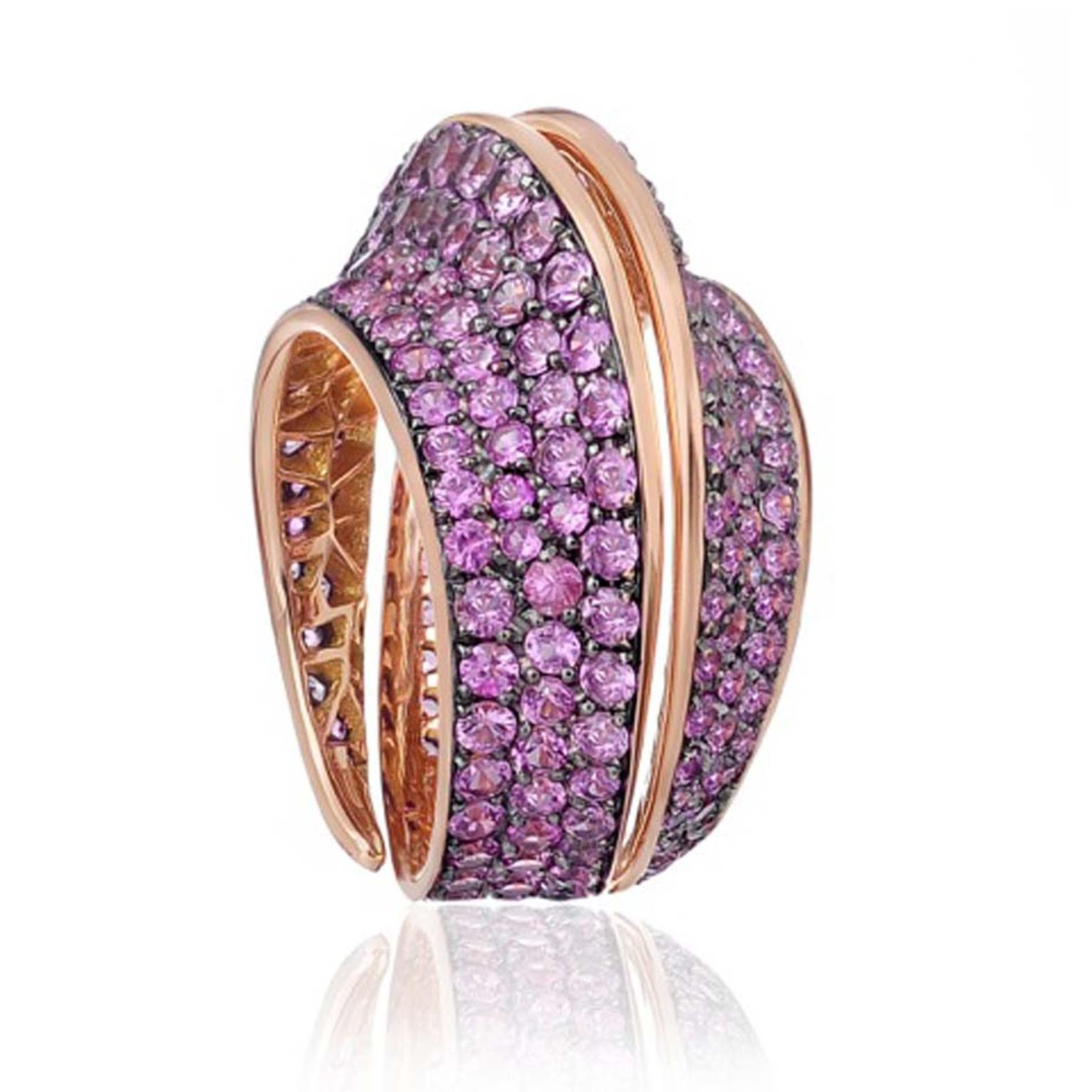 Lily Gabriella ring in rose gold, pavé set with pink sapphires.