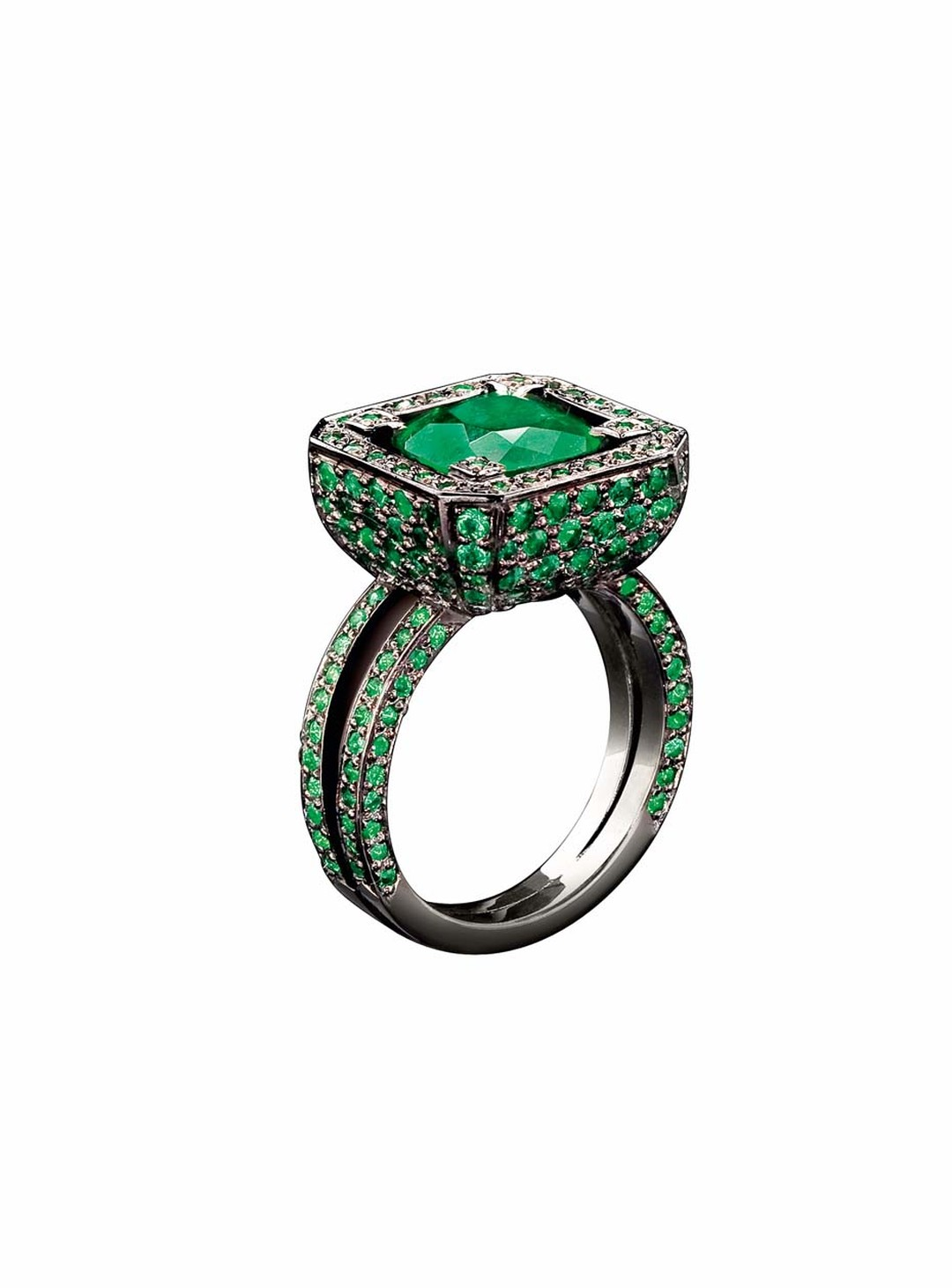 "Solange Azagury-Partridge Cup ring with a central emerald, pavé set emerald ""cup"" body and emerald-set band in blackened white gold."