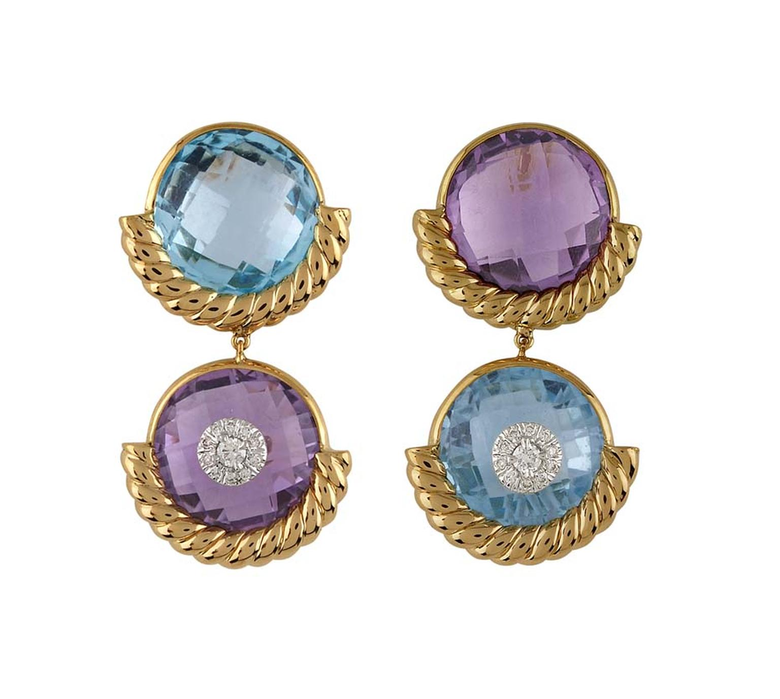 Bina Goenka checker-cut blue topaz and amethyst earrings.