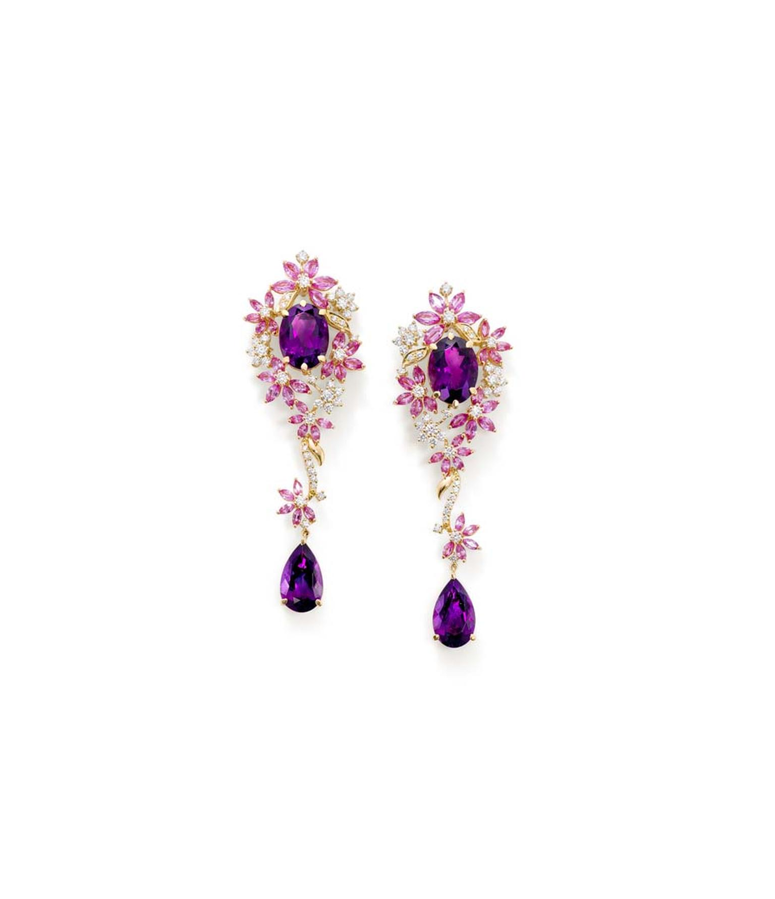 Ganjam 'Le Jardin' collection earrings set with oval and drop amethysts and pink sapphire flowers, interspersed with diamonds.