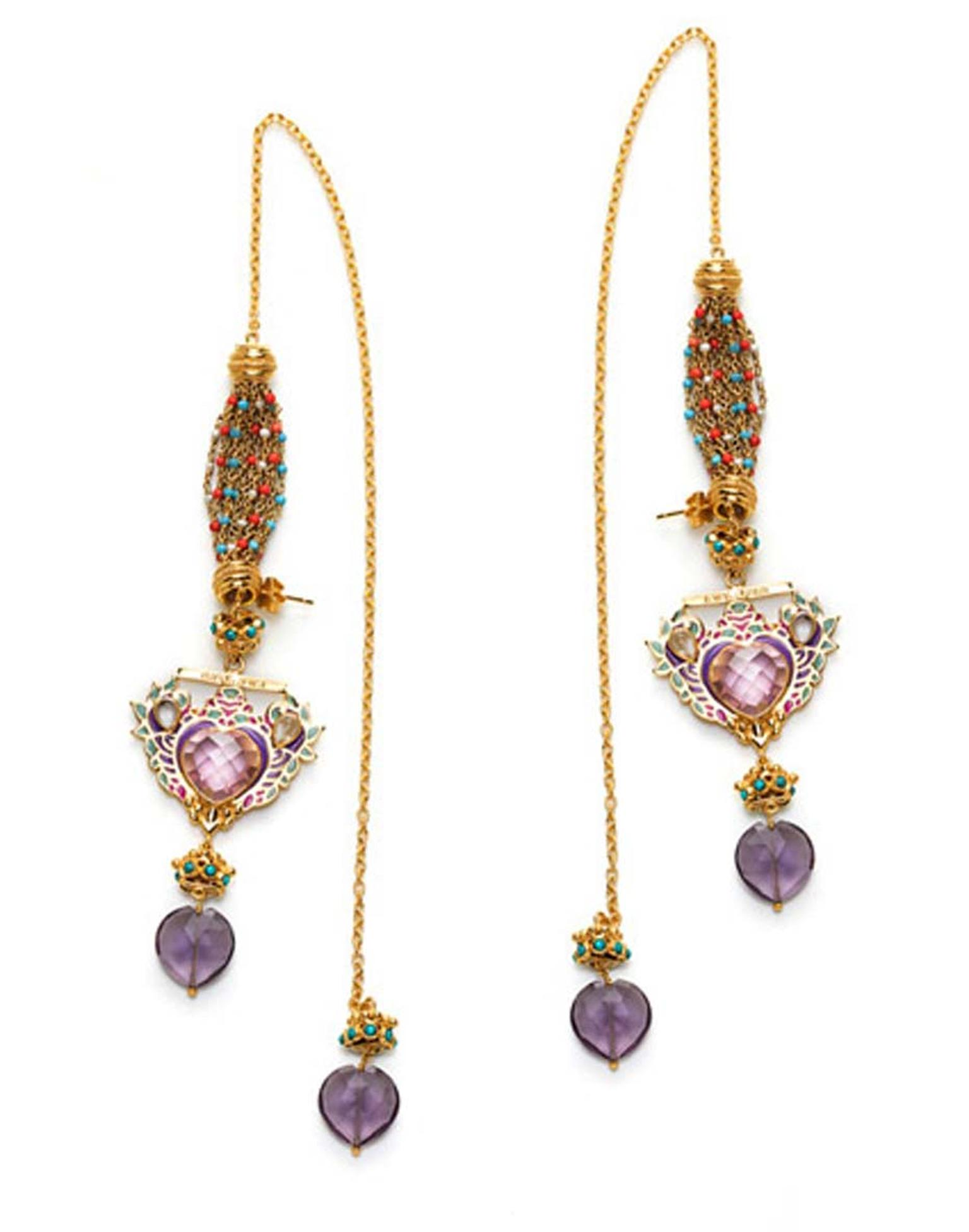 Amrapali Manish Arora earrings with heart-shaped amethysts, enamel work and gold chains.