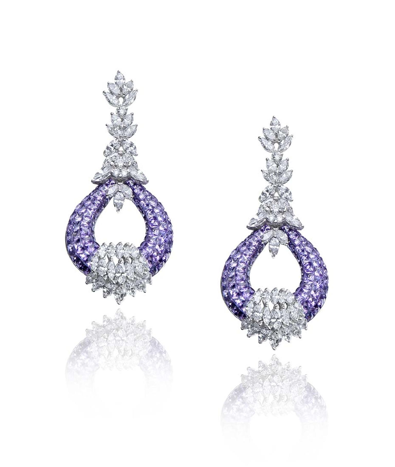 Farah Khan amethyst and diamond chandelier earrings.