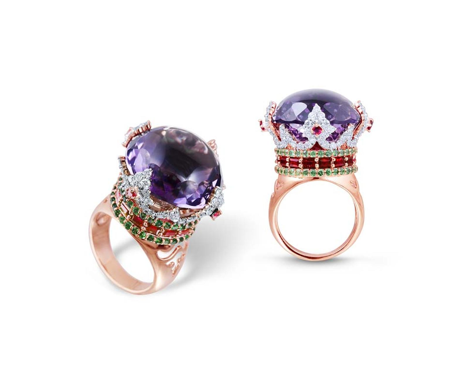 Farah Khan Crown rose gold ring with a central amethyst surrounded by diamonds, rubies and emeralds
