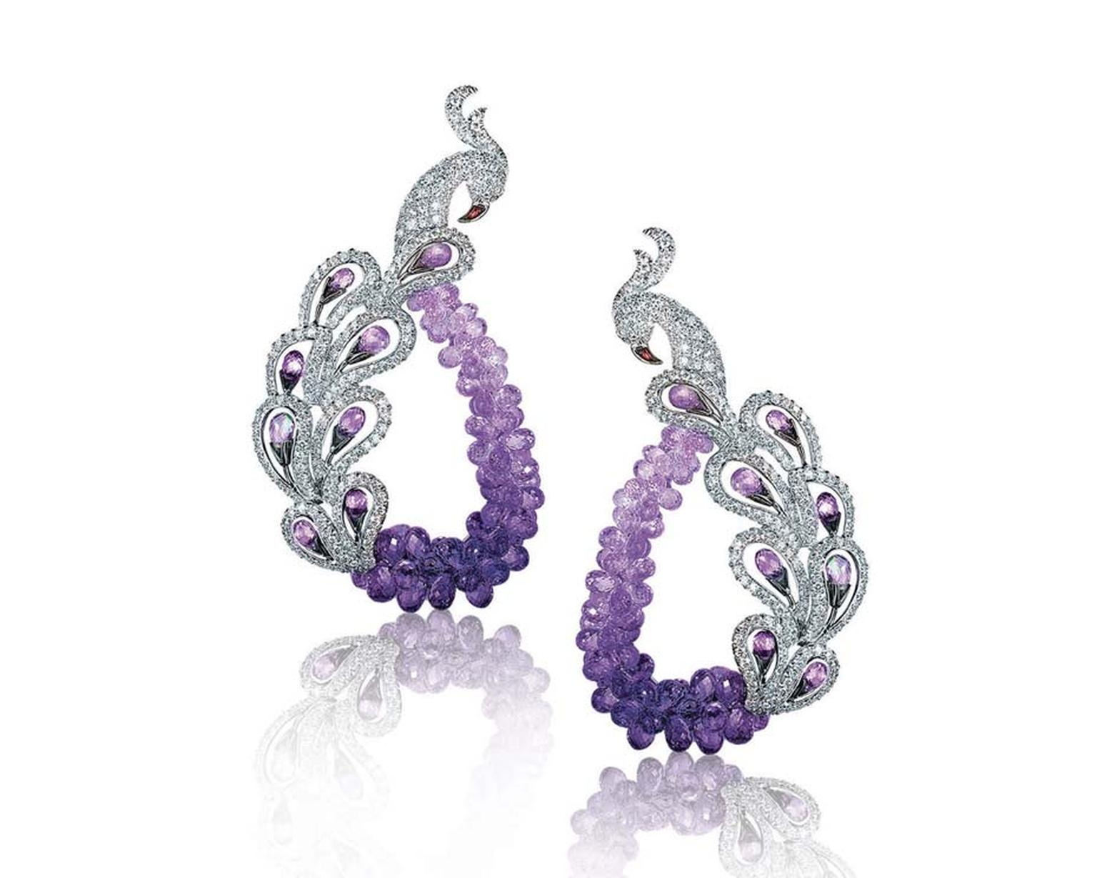 Mirari signature Peacock earrings featuring amethyst briolettes.