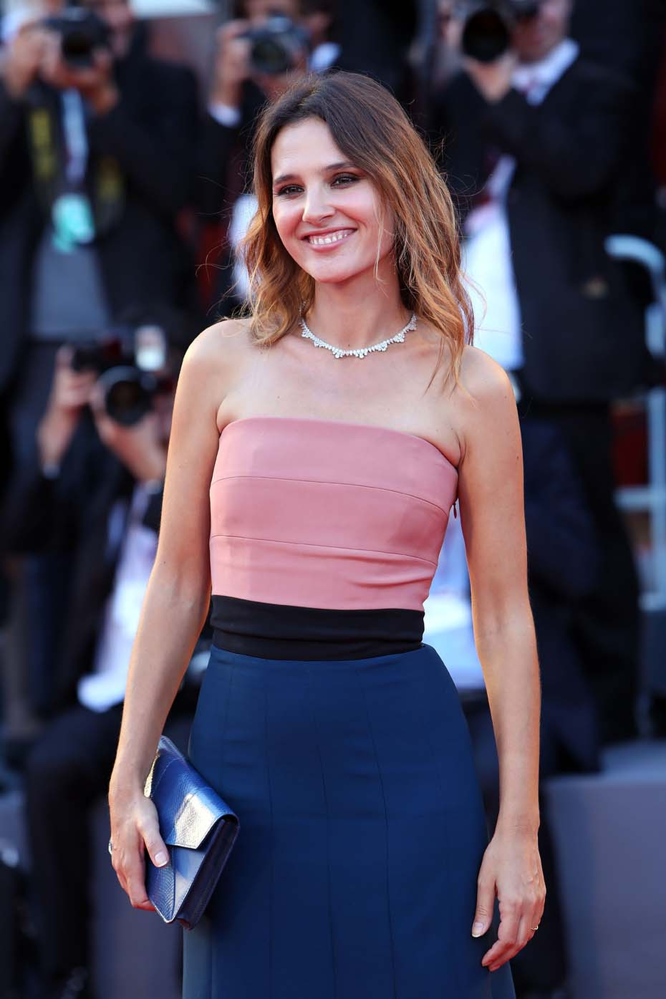 Actress Virginie Ledoyen debuted a stunning diamond Chopard necklace from the Green Carpet collection at the Venice Film Festival 2013