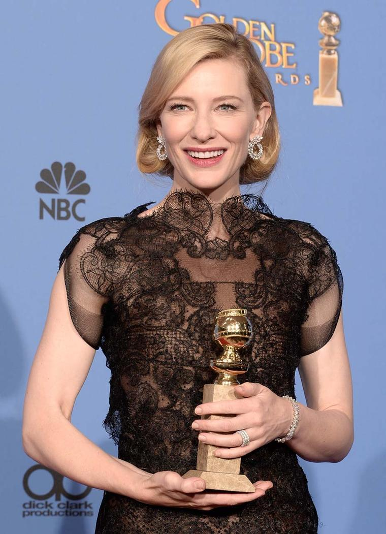 The third star to accept the Green Carpet Challenge was Cate Blanchett at the Golden Globe Awards in January 2014