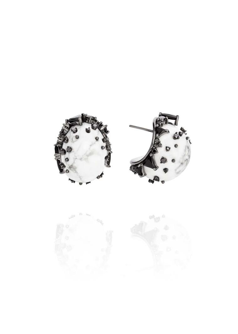 Fernando Jorge Fusion Rounded Earrings in black rhodium plated gold with black diamonds, black jade and and howlite.
