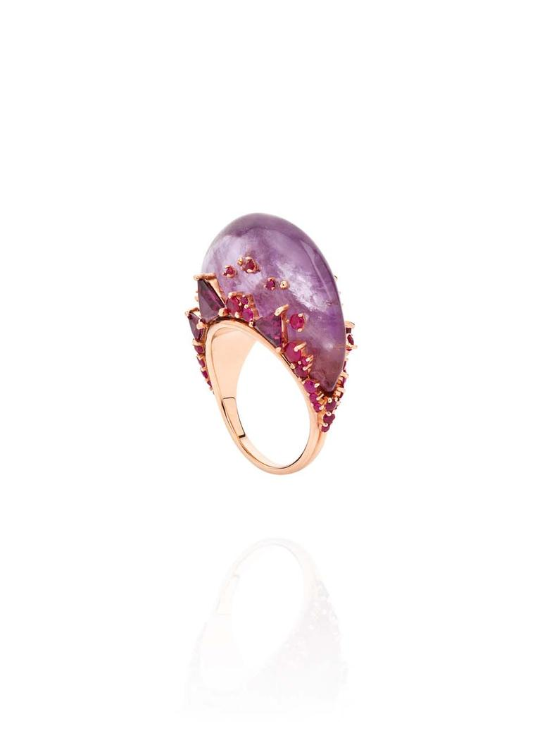 Fernando Jorge Fusion Tall Ring in rose gold with rubies, rhodolites and amethyst.