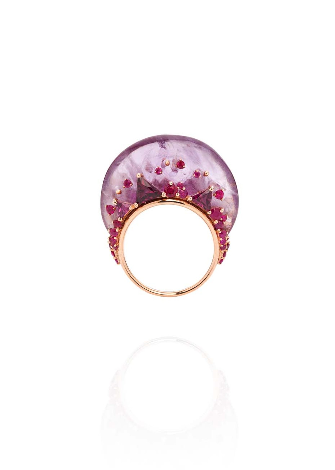 Fernando Jorge Fusion Tall ring in rose gold with rubies, rhodolites and amethyst
