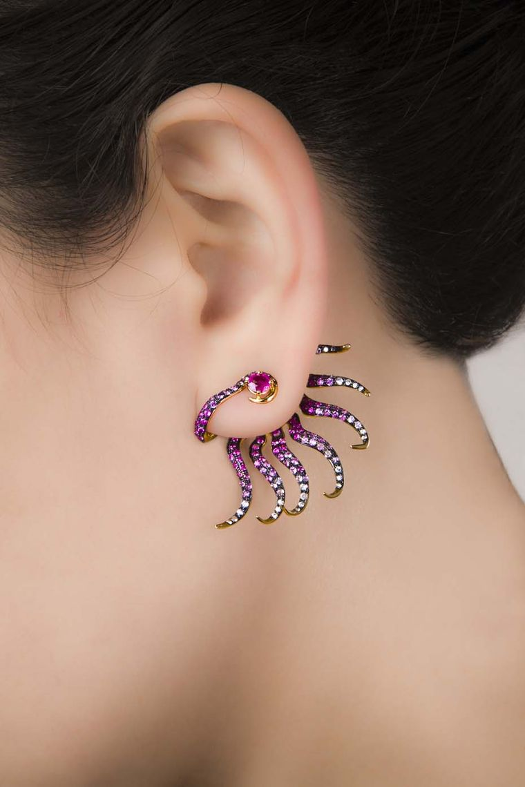 Leyla Abdollahi's Nymph of a Rose Draped Spring earrings