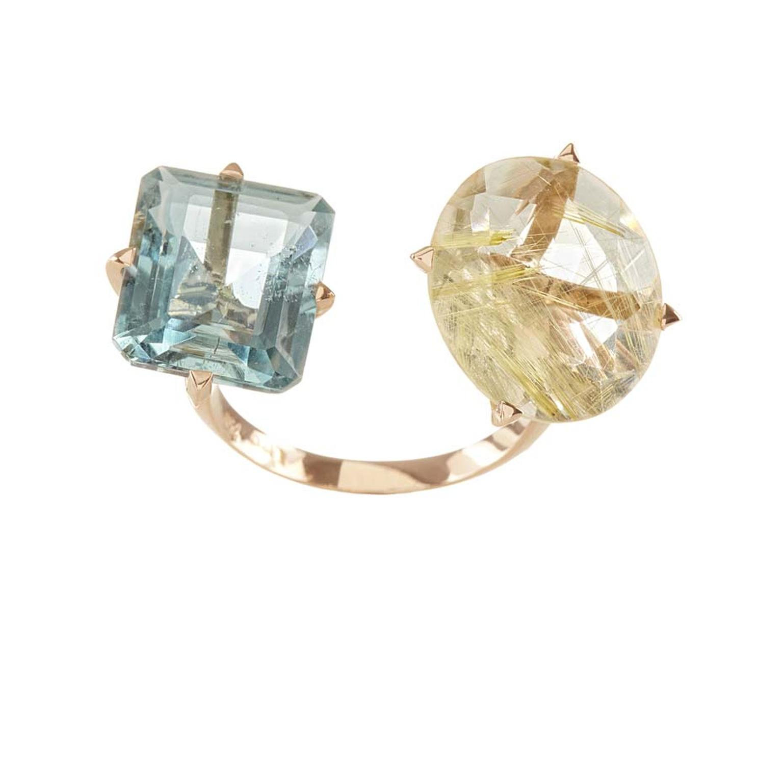 Lito pink gold ring, set with an octagon-cut aquamarine and oval-cut rutilated quartz