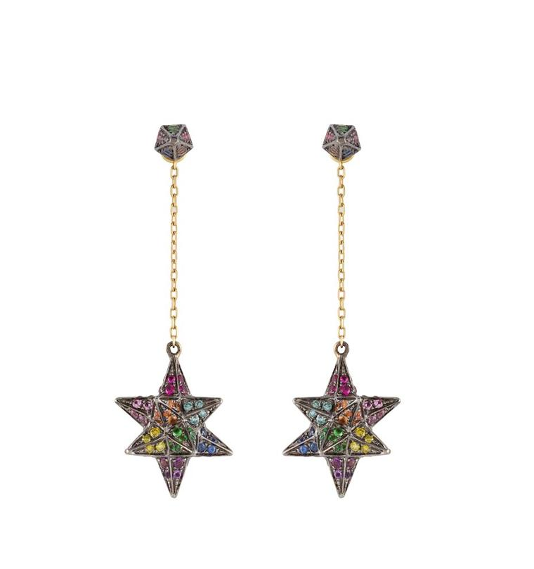 Noor Fares Macabre earrings with coloured gemstones