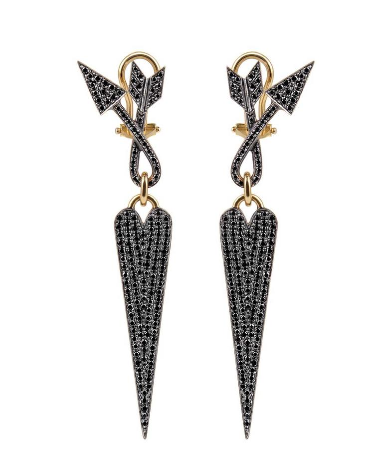 Elena Votsi Twisted Love black diamond earrings