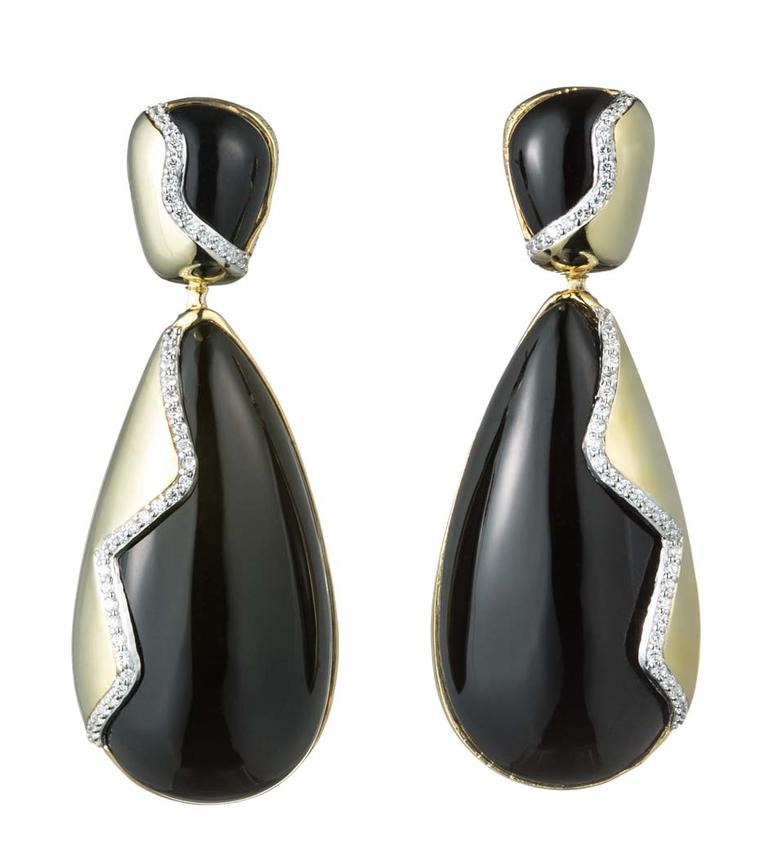 Kara Ross Petra Contour drop earrings with black onyx and white diamonds