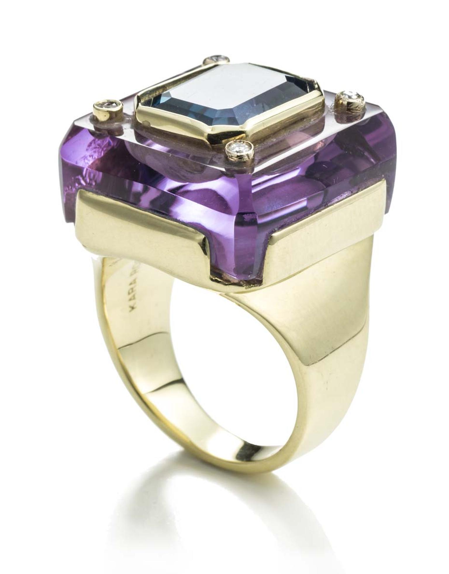 Kara Ross Petra amethyst and blue topaz Inset ring in yellow gold