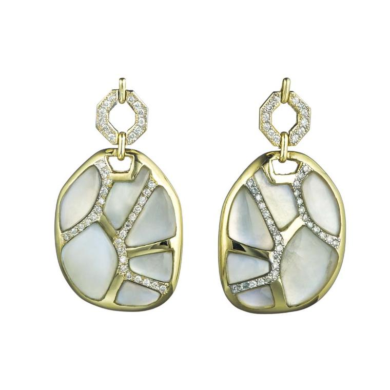Kara Ross Petra Mosaic Link earrings with rainbow moonstone and diamonds