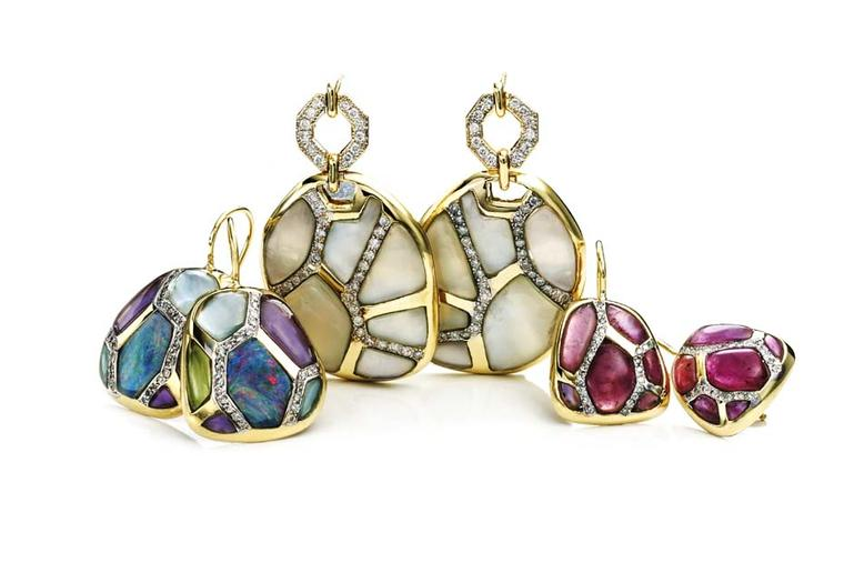 Kara Ross Petra Mosaic Link earrings with different coloured stones