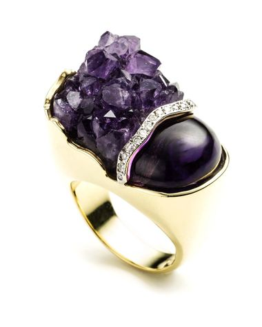 Kara Ross Petra Split ring with raw and smooth amethyst and diamonds