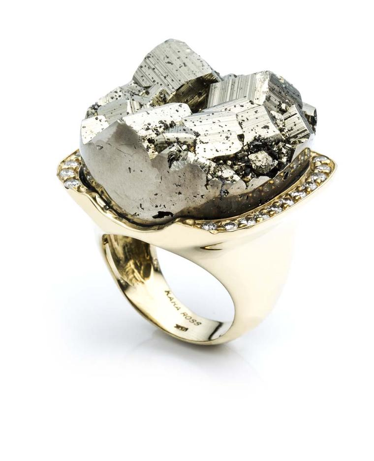 Kara Ross Petra ring with pyrite and diamonds in yellow gold