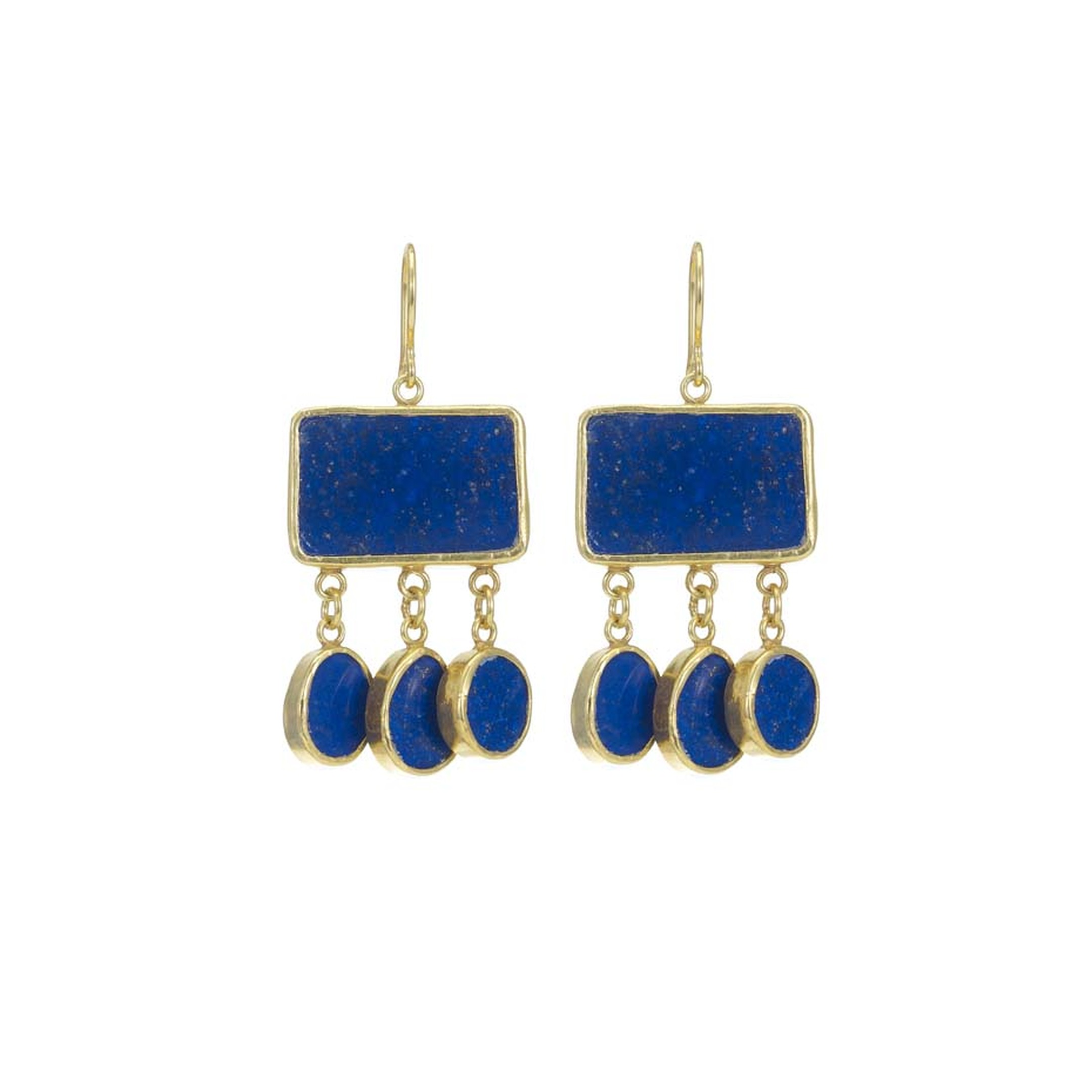 Pippa Small's Turquoise Mountain earrings in gold, set with lapis lazuli