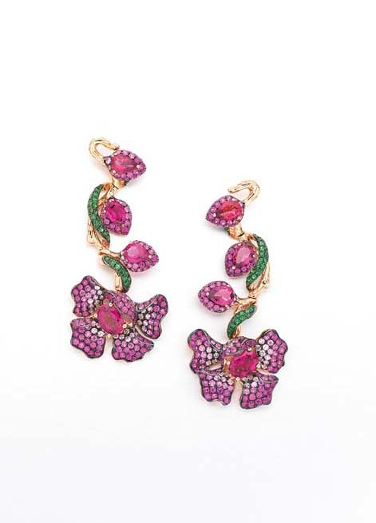 Wendy Yue's Diamond Tree earrings with rubellites, white sapphires, pink sapphires and tsavourites.