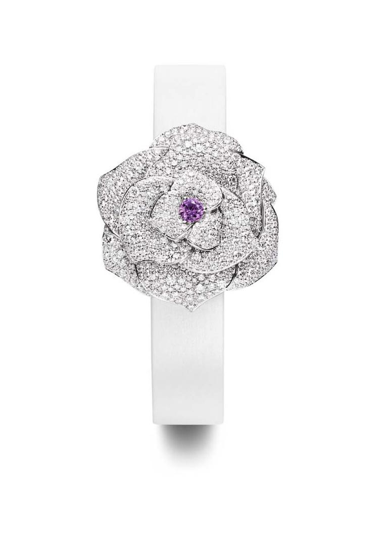 Piaget Rose Passion watch in white gold with diamond petals and a centre bud of pink sapphire
