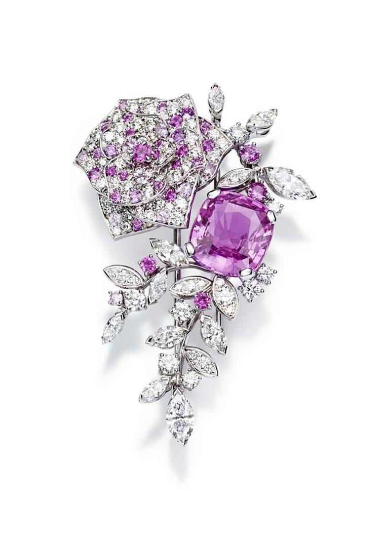Piaget Rose Passion brooch in white gold, with diamonds and pink sapphires