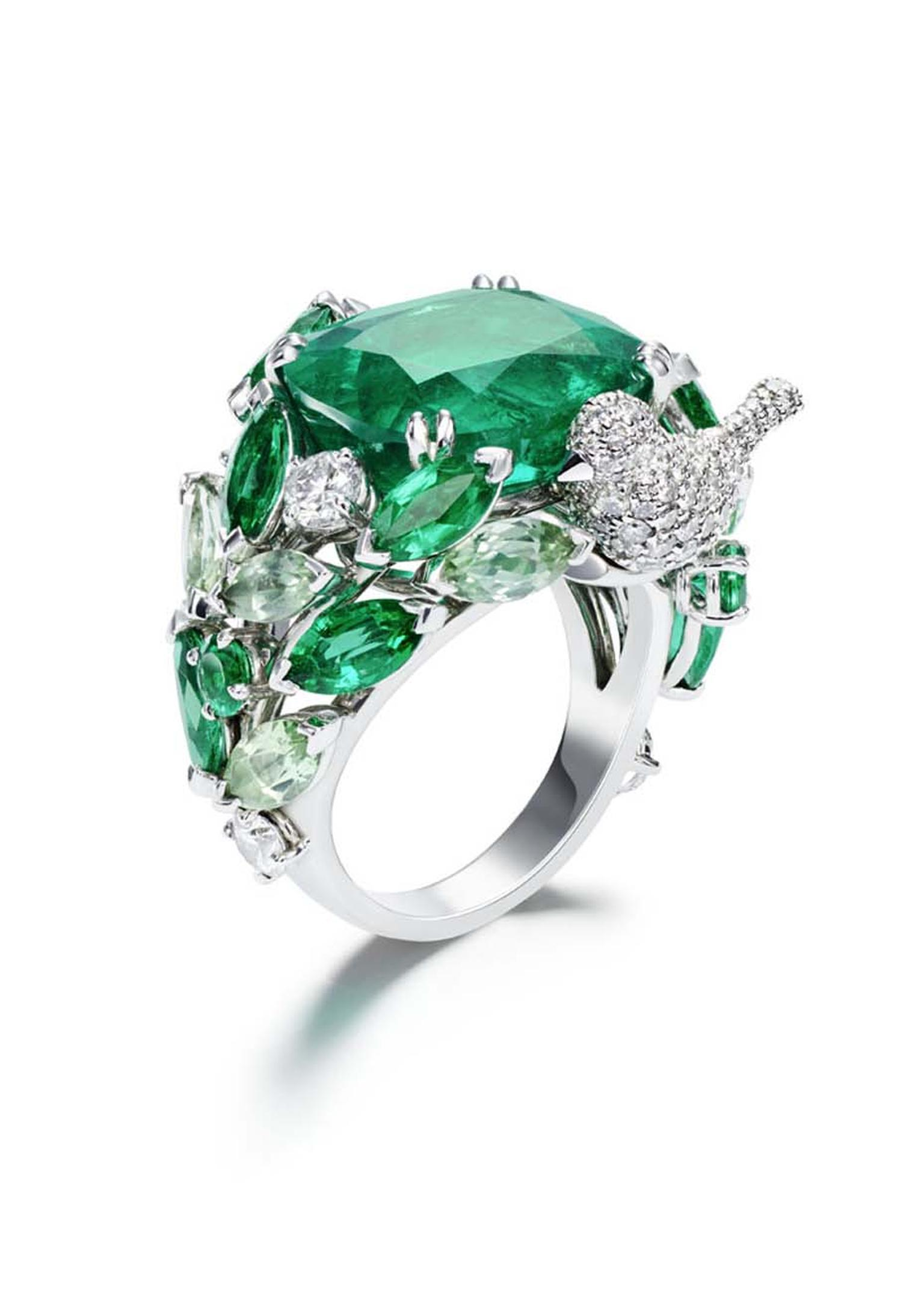 Piaget Rose Passion ring in white gold, set with diamonds and marquise cut and princess cut tourmalines