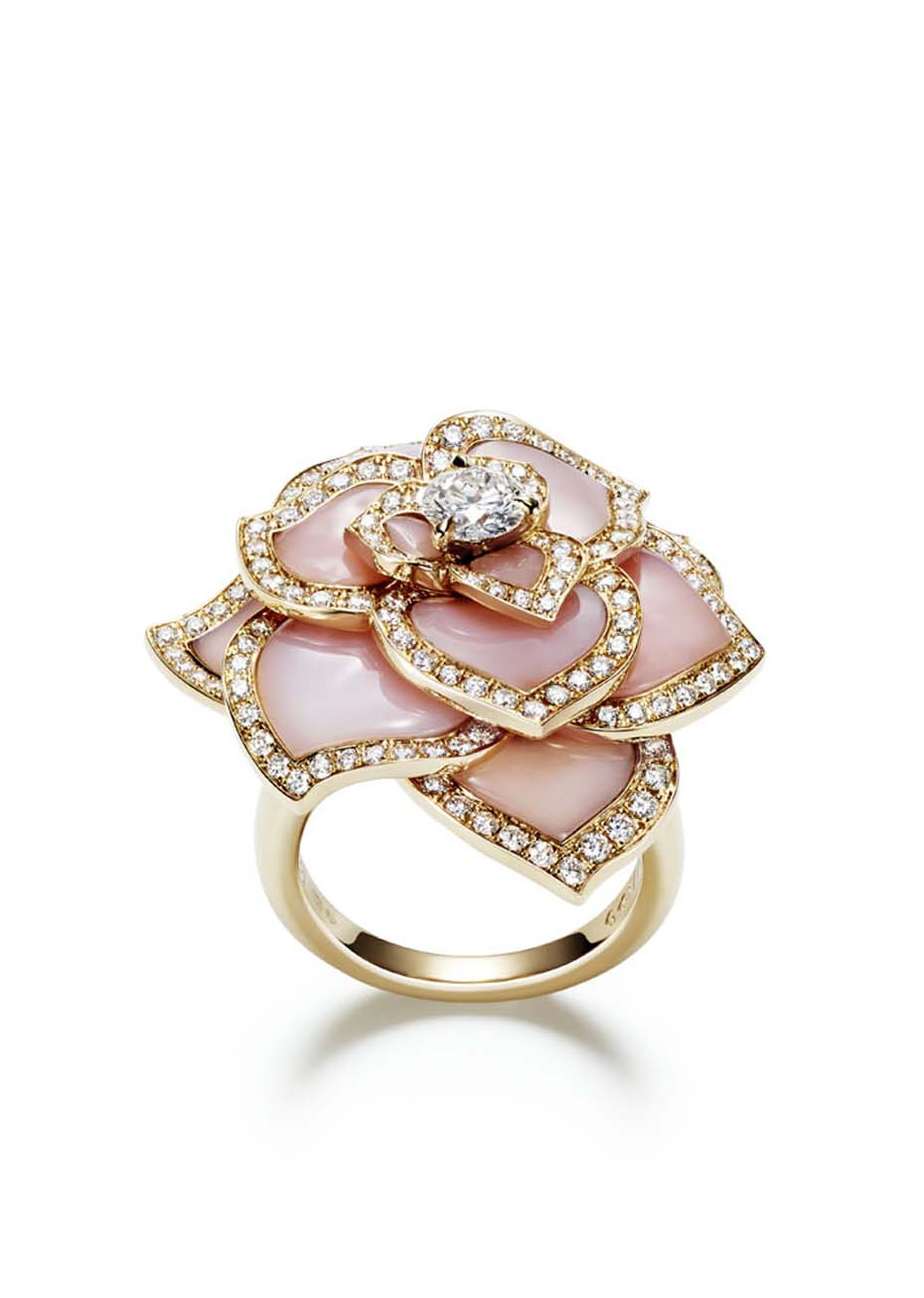 Piaget's pink gold Rose Passion ring features pink carved opal petals set with pavé diamonds and a central brilliant-cut diamond